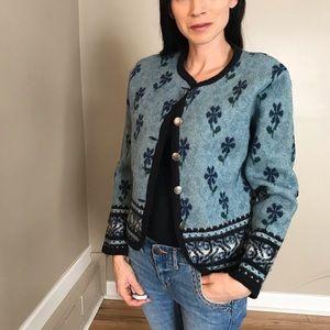 Vintage Tally Ho Wool Fair Isle Cardigan Sweater